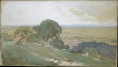 Olive Trees at Tivoli Artist: George Inness (American, Newburgh, New York 1825–1894 Bridge of Allan, Scotland) Date: 1873 Medium: Gouache, watercolor, and graphite on blue wove paper with colored fibers Dimensions: 7 x 12 3/8 in. (17.8 x 31.4 cm) Classification: Drawings