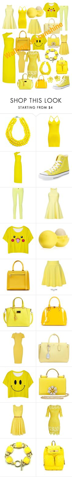 """""""Walking on sunshine #yellow"""" by owl33546 ❤ liked on Polyvore featuring Lagom, Versace, Converse, M Missoni, Elizabeth and James, Eos, Victoria Beckham, QNIGIRLS, CXL by Christian Lacroix and Relaxfeel"""