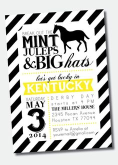 Kentucky Derby Party Invitation Wording New Customizable Kentucky Derby Party Invitation Derby Time, Derby Day, Derby Dinner, Kentucky Derby Hats, Kentucky Derby Party Ideas, Bachelorette Party Invitations, Roller Derby, Roller Skating, Invitation Wording
