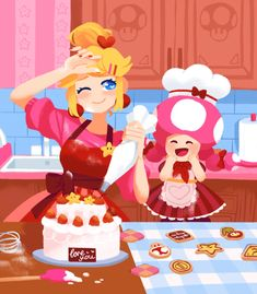 """""""please come to the castle, i've baked a cake for you! Mario Fan Art, Mario Bros., Mario And Luigi, Mario Kart, Super Mario Kunst, Super Mario Art, Super Mario Brothers, Mario And Princess Peach, Peach Mario"""