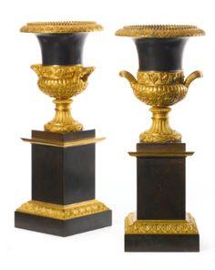 A pair of Restauration ormolu and patinated bronze urns circa 1820 - Sothebys