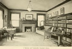 "A spacious and comfortably furnished library from ""Interiors Beautiful"" by M.L. Keith, dated 1922."