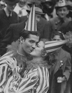 Mardi Gras, New Orleans, Street Costumer Couple Kiss, ca 1936, Unknown Photographer.