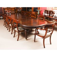 A fantastic dining set comprising an antique Victorian solid mahogany dining table and a set of ten bespoke upholstered back dining chairs. Victorian Dining Tables, Buy Dining Table, Antique Dining Chairs, Mahogany Dining Table, Dining Room Sets, Extendable Dining Table, Mahogany Furniture, Table And Chair Sets, Bespoke