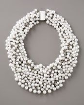 Fragments for Neiman Marcus Pearl & Rhinestone Shag Necklace, White