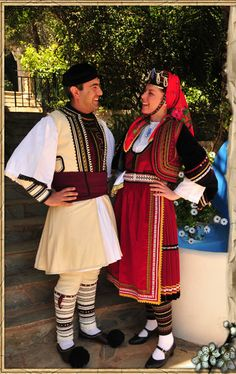 vlachs of Greece Greek Traditional Dress, Traditional Outfits, Culture Clothing, Folk Clothing, Greece Costume, Greek Dress, Costumes Around The World, Ukraine, Folk Costume