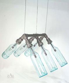 Wine Bottles Hanging Suspension Lamp Pendant Light by ZALcreations