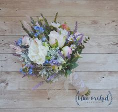Wildflower Boho Bouquet with Lavender, Blue Blossoms, and Garden Roses, Rustic Bouquet, Boho Wedding Bouquet, Wildflower Bouquet by blueorchidcreations on Etsy