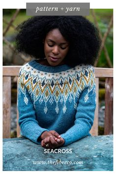 Seacross is a seamless, top down colour work sweater with a stunning five-colour yoke. Seacross by Becky Baker is available as a knitting kit including the pattern and The Fibre Co. Fair Isle Knitting, Free Knitting, Sock Knitting, Knitting Machine, Knit Crochet, Crochet Lion, Crochet Granny, Mode Statements, Icelandic Sweaters