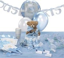 Baby+Boy+Christening+Decorations | This is a more unique baptism centerpiece made from a diaper cake ...