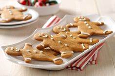 My favourite Gingerbread recipe: 2 cups flour 1 tsp. baking soda 1 Tbsp. ground ginger 1-1/2 tsp. ground cinnamon 3/4 cup butter, softened 3/4 cup packed brown sugar 1 pkg. (3.4 oz.) JELL-O Butterscotch Instant Pudding 1 egg 1 Tbsp. water 1 cup powdered sugar  Heat oven to 350°F. Roll out dough on lightly floured surface to 1/4-inch thickness; cut into gingerbread shapes. Place, 2 inches apart, on baking sheets sprayed with cooking spray.  Bake 10 to 12 min. or until edges are lightly…