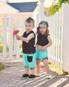 bcb34b43e6a Summer Twin Baby Boys Girls Matching Tank Tops Pants Outfits