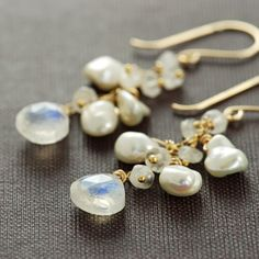 Moonstone Pearl Earrings in 14k Gold Fill, Gemstone Dangle Earrings Handmade by aubepine