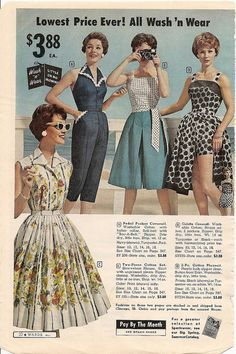"""1950s summertime separates and playsuits. Note that you can """"pay by the month"""" for these."""