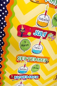 """Birthdays are groovy when you celebrate with Pete the Cat! Includes """"Birthdays Are Groovy!"""" banner, 12 month headers, and 36 pieces for student names. A teacher guide with activities and reproducibles is also included. Set of 49 pieces. Cat Birthday, Birthday Board, Happy Birthday, Kindergarten Classroom Decor, Classroom Themes, Class Decoration, Room Decorations, Birthday Bulletin Boards, Pete The Cats"""