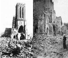 Devant le portail de l'église Saint Jean, un tas de ruines,