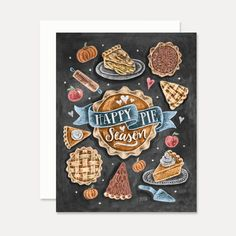 Lily & Val – Happy Pie Season - A2 Note Card