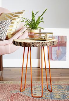 DIY wood slab & hairpin leg side table