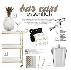 """""""bar cart essentials"""" by abbyatl ❤ liked on Polyvore featuring interior, interiors, interior design, home, home decor, interior decorating, Kershaw, Kate Spade, Pier 1 Imports and ACME Party Box Company"""
