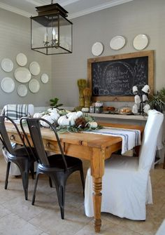 Vintage French Soul ~ Home Remedies RX / 2015 Fall Home Tour/ Dining Room, wall color is Bedford Gray, Martha Stewart: Dining Room Wall Decor, Dining Room Design, Dining Rooms, Decor Room, Dining Area, Bedroom Decor, Dining Table, Dining Room Inspiration, Autumn Home