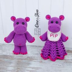 Pip the Hippo Lovey and Amigurumi Crochet Patterns by One and Two Company