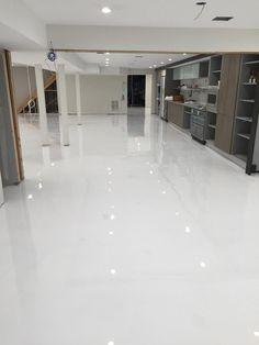 High Gloss Bright White Epoxy Garage Floor And Walls