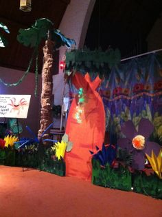 Weird Animals VBS Main Session and Tail End Decorations.  HOT KNIFE IS A MUST FOR THE FOAM TREES! It was super easy to cut with it! The palm trees we inherited from a school who did a jungle themed auction (so very blessed for this)! The rest of the set are all ideas from the Group VBS decorating DVD with my own personal creative touch like they suggest!