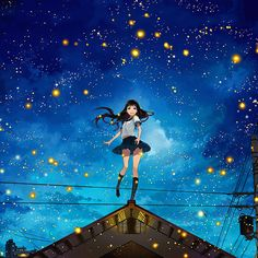 Floating Space Girl By Minioceane On Deviantart Floating In Space Anime Backgrounds Wallpape. Anime Moon, Anime Stars, Art And Illustration, Portrait Paintings, Portraits, Space Anime, Girl Face Drawing, Floating In Space, Girl In Water