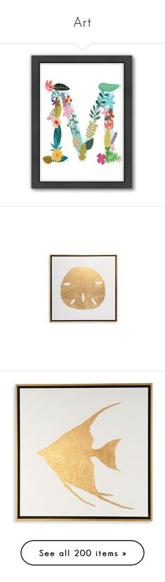 """""""Art"""" by loves-elephants ❤ liked on Polyvore featuring home, home decor, wall art, monogram wall art, framed wall art, vertical wall art, sea life wall art, sea wall art, grandin road and seaside home decor"""