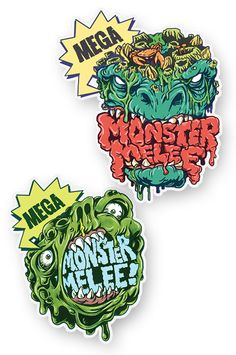 Mega Monster Melee Stickers by Aaron Klopp, via Behance