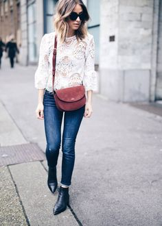 denim and white lace spring outfit