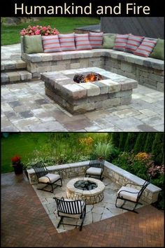 feuerstelle garten Lovely Fire Pit/Place Ideas For Your Home Diy Fire Pit, Fire Pit Backyard, Fire Pit Bench, Small Fire Pit, Garden Fire Pit, Fire Pit Seating, Backyard Patio Designs, Backyard Landscaping, Landscaping Ideas