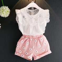 Girls' Clothing (Sizes 4 & Up) Toddler Kids Baby Girl Summer Outfit Clothes Lace Shirt Tops+Shorts Pants Girls Summer Outfits, Toddler Girl Outfits, Baby Outfits Newborn, Short Outfits, Spring Outfits, Kids Outfits, Toddler Girls, Summer Girls, Kids Girls