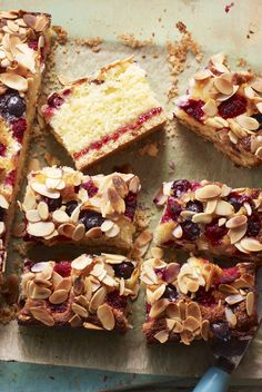 Blueberry and raspberry almond cake with a hidden layer of jam and a buttery biscuit base. Sweet Recipes, Cake Recipes, Muffin Recipes, Raspberry And Almond Cake, Shortbread Cake, Yummy Treats, Sweet Treats, Buttery Biscuits, Summer Berries
