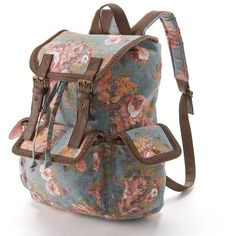 Mudd Vintage Denim Floral Backpack (Blue) ($20) ❤ liked on Polyvore featuring bags, backpacks, accessories, blue, floral rucksack, drawstring backpack, floral backpack, buckle backpack and print backpacks