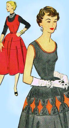 1950s Vintage McCalls Sewing Pattern 9955 Misses Sun Dress Gr8 Skirt Size 30 B