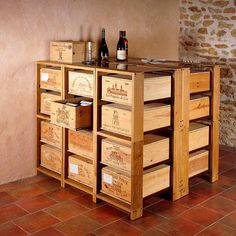 Custom Built Wine Crate Table and Chest of Drawers