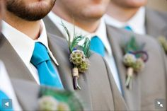 Gray suits with David's bridal Malibu blue for mid-July wedding?