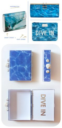 DIY Kate Spade Inspired Pool Water Clutch Tutorial by Sprinkles in Springs here.Top Photo: Inspiration, Bottom Photo: DIY by Sprinkles in Springs. I like this tutorial because you could use the acrylic box as a clutch alone ($5.99 at the link), or add whatever paper you wanted. I've been seeing so many see through clutches/bags of all types and sizes in acrylic and plastic (Chanel, Prada, Fendi etc…) for a long time. Also go to Honestly…WTF for their transparent clutch tutorial using the…