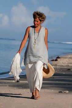 AMALTHEE CREATIONS short linen gauze tunic with white sarouel skirt #pale_blue #mother_of_pearl #coastal_living #summer_2014