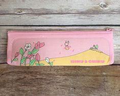 Vintage 70s 80s Victoria Fancy Gaaken Pencil Case Mimu & Chimu Zip Pastel Pink Kawaii