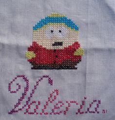 Cartman  de south park en punto de cruz, con nombre personalizado