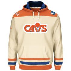 NBA Cleveland Cavaliers Majestic Hardwood Classics Double Minor Pullover Hoodie - Natural/Navy