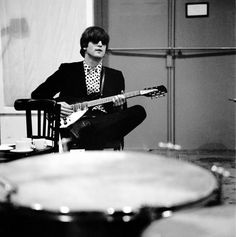 """John during a recording session for the album """"Beatles For Sale"""" - The Beatles"""