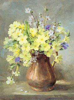 ✿Bouquet & Full Of Flower Basket✿ Primroses in a Copper Jug