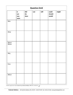 QUESTION GRID GAMESHOW! Help students generate different types of questions about what they're reading. RULES: 1. Create two dice: 1 with the six interrogatives, 1with six sets of verbs. 2. Make 2 teams. Students in one team take turns rolling dice and generating questions. 3. The other team has a chance to answer each question. If they can, the square is awarded to their team. 4. The team with the most squares to their credit is the winner! *Copies Available!*