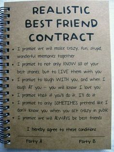 ReALiStiC Best Friend Contract – 5 x 7 journal – ReALiStiC Best Friend Vertrag – 5 x 7 Tagebuch – Related posts: ReALiStiC Best Friend Vertrag – 5 x 7 Tagebuch – … Bester Freund Vertrag – Tagebuch – Geschenke … Best Friend Bucket List, Best Friend Goals, Best Friend Things, Guy Best Friend Gifts, Best Friend Crafts, Best Friend Book, Letter To Best Friend, Diy Gifts For Best Friends, Cute Best Friend Quotes