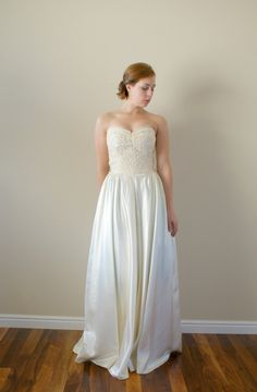 vintage 40's lace silk wedding dress $348