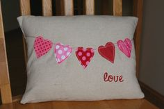 Shabby String of Hearts Pillow Sham by ShabbyByMelissa on Etsy, $24.00
