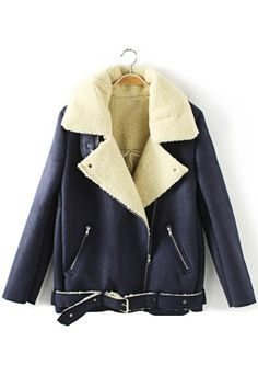 Biker Off-center Zipper Faux Shearling Coat - OASAP.com Faux Shearling Coat, Wool Overcoat, Wrap Coat, Motorcycle Style, Winter Coats Women, All About Fashion, Cool Style, Biker, Fashion Looks
